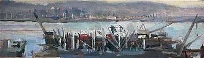 Bay Area Figurative Painting - Drydocks by Gage Opdenbrouw