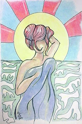 Drawing - Drying Off From A Swim by Loretta Nash