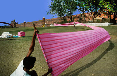 Photograph - Drying Silk At Red Fort In India by Carl Purcell
