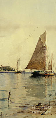 Long Island Painting - Drying The Sails, Oyster Boats, Patchogue, Long Island by Alfred Thompson Bricher