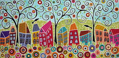 Folk Art Painting - Dsc01598-swirl Tree Village by Karla Gerard