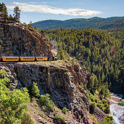 Photograph - Dsng Narrow Gauge Railroad Train - Square Format by Gregory Ballos