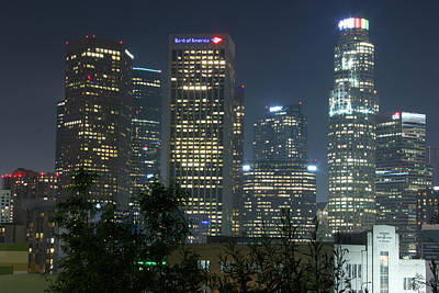 Photograph - Downtown Los Angeles Skyline At Night by Gary Dunkel