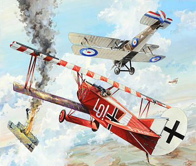 Military Aviation Art Painting - Du Doch Nicht by Charles Taylor