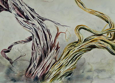 Tree Roots Painting - Dual Branches by Kimberlee Trowbridge