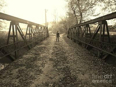 Dual On The Bridge At Dusk - Sepia Art Print by Scott D Van Osdol