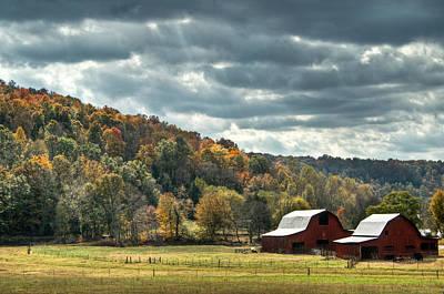 Photograph - Dual Red Barns by Douglas Barnett