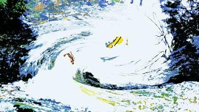 Canoe Waterfall Painting - Dual Rivers by Charles Papaccio