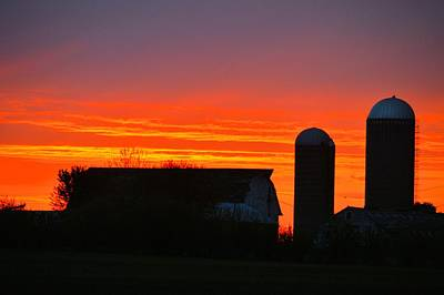 Photograph - Dual Silo Sunrise by Bonfire Photography