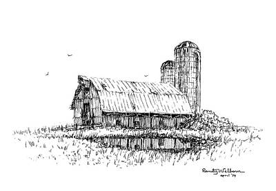 Drawing - Dual Silos by Randy Welborn