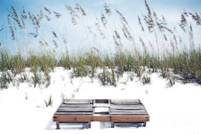 Photograph - Dual Wooden Tanning Beds On White Sand Dune Destin Florida Diffuse Glow Digital Art by Shawn O'Brien