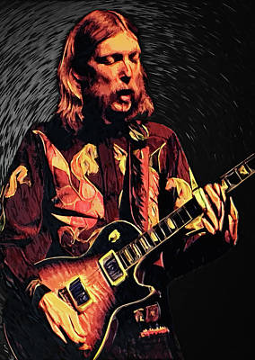 Band Digital Art - Duane Allman by Taylan Apukovska