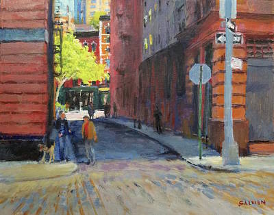 Painting - Duane Park From Staple Street by Peter Salwen