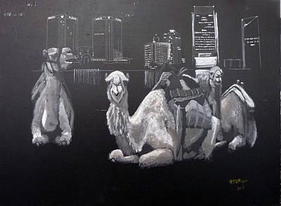 Dubai Camels Art Print