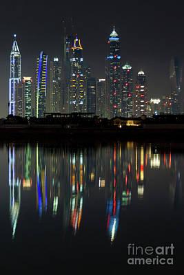 Photograph - Dubai City Skyline Nighttime  by Andy Myatt