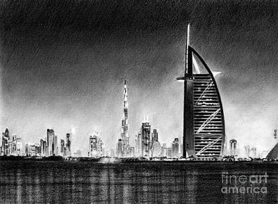 Drawing - Dubai Cityscape Drawing by David Rives