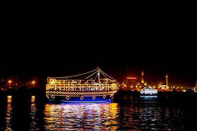 Dhow Photograph - Dubai Creek At Night by Art Spectrum