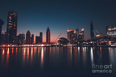 Photograph - Dubai Downtown At Night by Anna Om