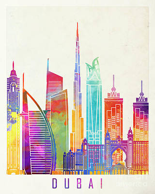 Dubai Skyline Painting - Dubai Landmarks Watercolor Poster by Pablo Romero