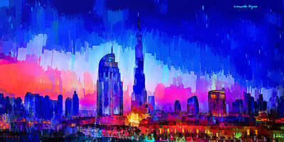 Dubai Skyline 100 - Da Art Print by Leonardo Digenio