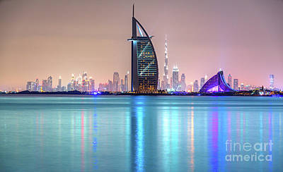 Photograph - Dubai Skyline At Dusk - Uae by Luciano Mortula