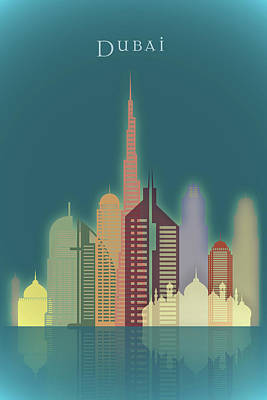 Dubai Skyline Painting - Dubai Skyline by Dim Dom