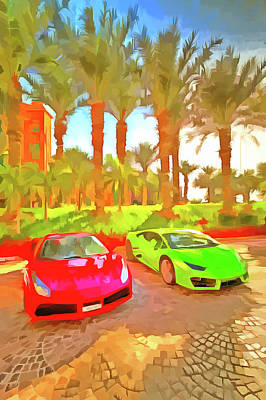 Photograph - Dubai Super Cars Pop Art by David Pyatt