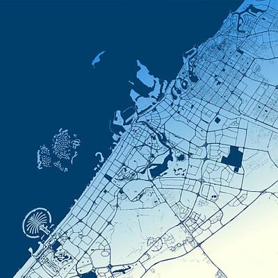 Dubai Two-tone Map Artprint Art Print by Knut Hebstreit