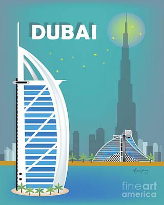 Dubai United Arab Emirates Vertical Skyline Art Print