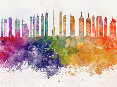 Dubai Skyline Painting - Dubai V2 Skyline In Watercolor Background by Pablo Romero