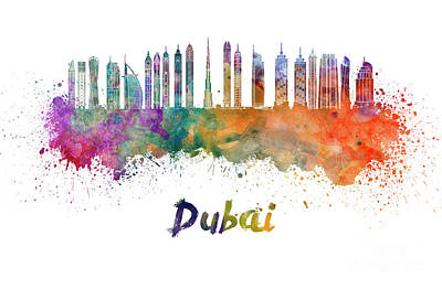 Dubai Skyline Painting - Dubai V2 Skyline In Watercolor by Pablo Romero