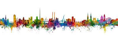 Dublin Wall Art - Digital Art - Dublin And Belfast Skylines Mashup by Michael Tompsett