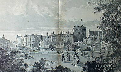 Mixed Media - Dublin Castle 1850 by Val Byrne