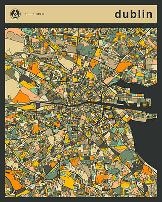 Dublin Digital Art - Dublin City Map by Jazzberry Blue