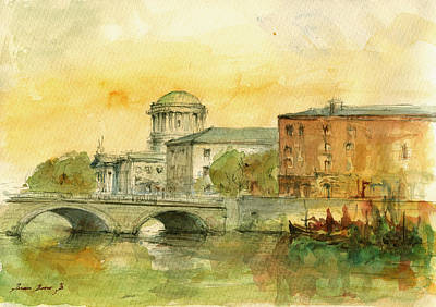 English Watercolor Painting - Dublin Cityscape by Juan  Bosco