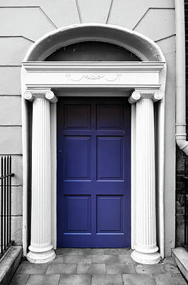 Photograph - Dublin Doors Ireland Georgian Style Purple With Roman Columns Color Splash Black And White by Shawn O'Brien