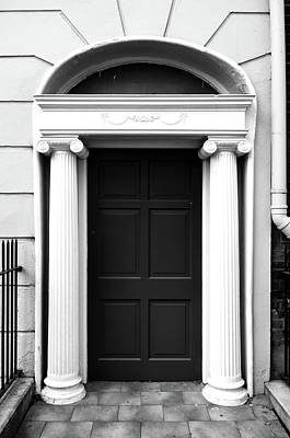 Photograph - Dublin Doors Ireland Georgian Style With Roman Columns Black And White by Shawn O'Brien