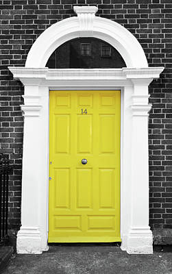 Photograph - Dublin Doors Ireland Vibrant Yellow Georgian Style With Columns Color Splash Black And White by Shawn O'Brien