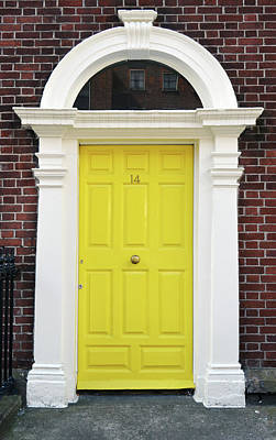 Photograph - Dublin Doors Ireland Vibrant Yellow Georgian Style With Columns by Shawn O'Brien
