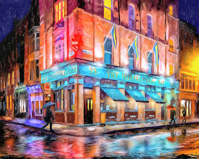 Art Print featuring the painting Dublin In The Rain by Mark Tisdale