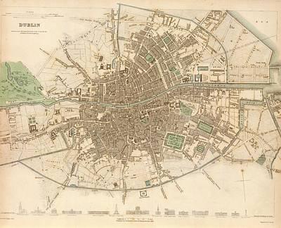 Dublin Drawing - Dublin Ireland 1836 by Mountain Dreams