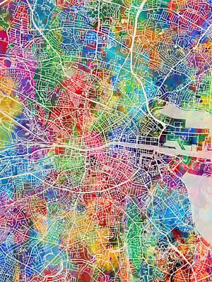 Dublin Wall Art - Digital Art - Dublin Ireland City Map by Michael Tompsett