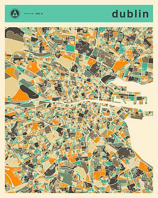 Dublin Digital Art - Dublin Map 2 by Jazzberry Blue