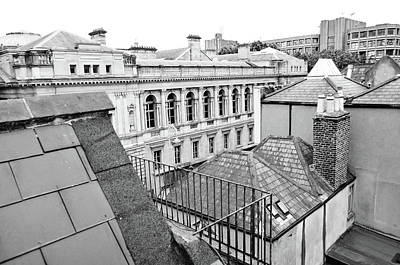 Photograph - Dublin Rooftops Overlooking National Museum Of Ireland Dublin Ireland Black And White by Shawn O'Brien
