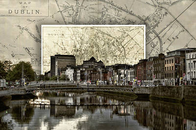 Dublin Skyline Mapped Art Print