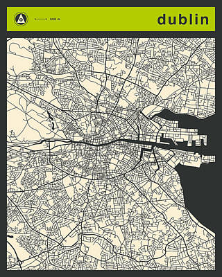 Dublin Digital Art - Dublin Street Map by Jazzberry Blue