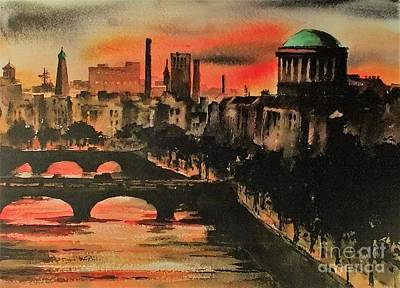 Painting - Dublin Sunset by Val Byrne