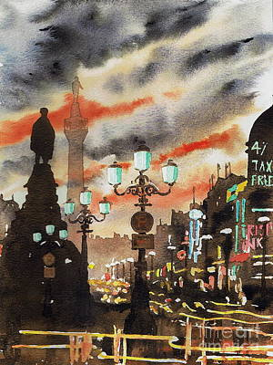 Painting - Dublin... The Ghost Of Nelson by Val Byrne