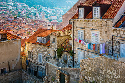 Clothesline Photograph - Dubrovnik Clothesline by Inge Johnsson