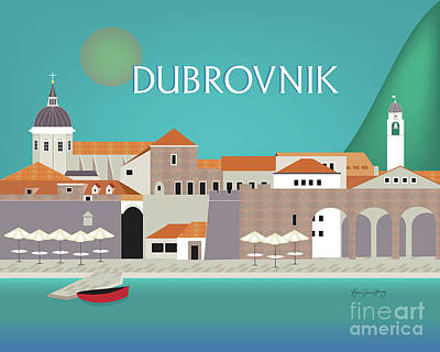 Old Town Digital Art - Dubrovnik Croatia Horizontal Scene by Karen Young